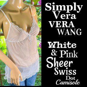 ▪️SIMPLY VERA▪️White Pink Sheer Swiss Dot Camisole
